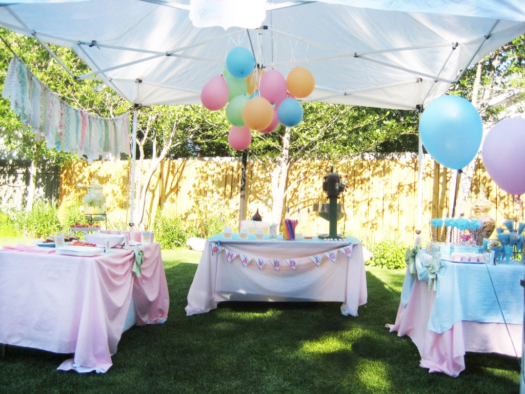 A vintage carnival preemie baby shower a joyful riot for Baby shower canopy decoration