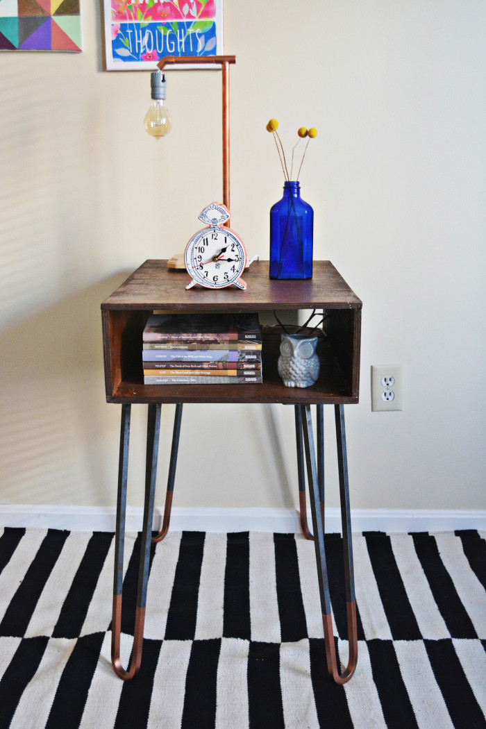 Diy Copper Dipped Hairpin Leg Side Table A Joyful Riot