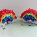 Mini rainbow pinatas for your St Patrick's day! Fill With gold things and find the gold at the end of the rainbow   A Joyful Riot
