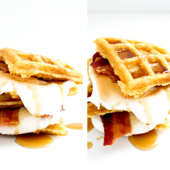 Breakfast s'more with waffles, bacon and maple syrup | 6 unique and delicious s'mores via A Joyful Riot