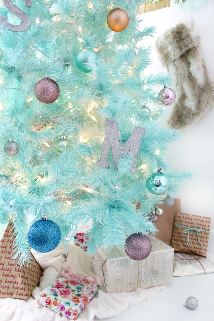 diy mint green christmas tree spray painted tree a joyful riot. Black Bedroom Furniture Sets. Home Design Ideas