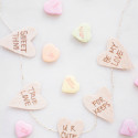 Mini Wood and Copper Conversation Heart Garland