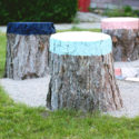 DIY Colorful Stump Seats