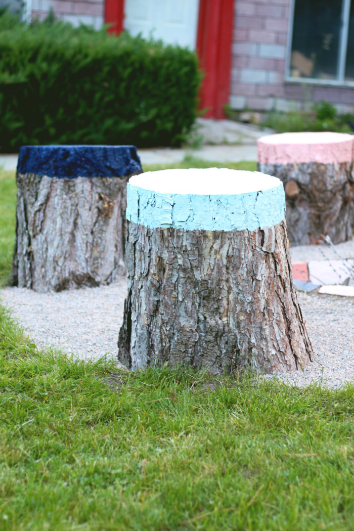 Diy Colorful Stump Seats A Joyful Riot