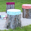 DIY Colorful Stump Seats