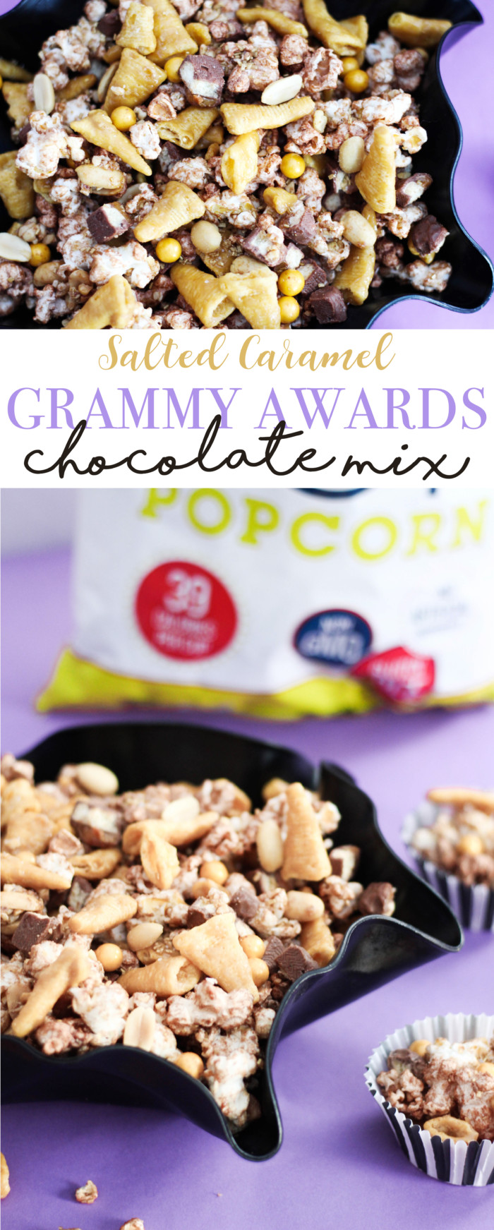"""Salty & sweet chocolate caramel snack mix featuring SkinnyPop and little """"gramophones"""", perfect for a Grammy Awards watching party!"""