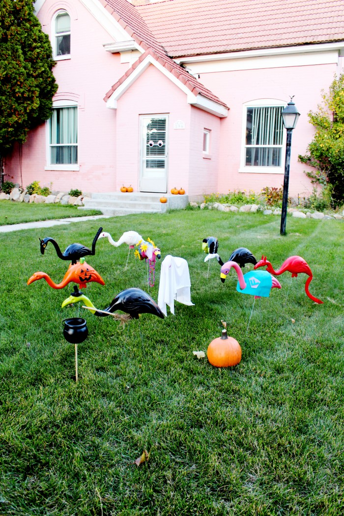 DIY Lawn Flamingos in Halloween Costumes!